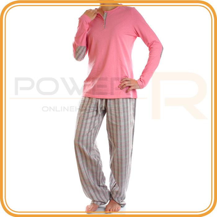 damen flanell schlafanzug pyjama gr s m l xl 36 38 40 42 44 46 48 50 ebay. Black Bedroom Furniture Sets. Home Design Ideas